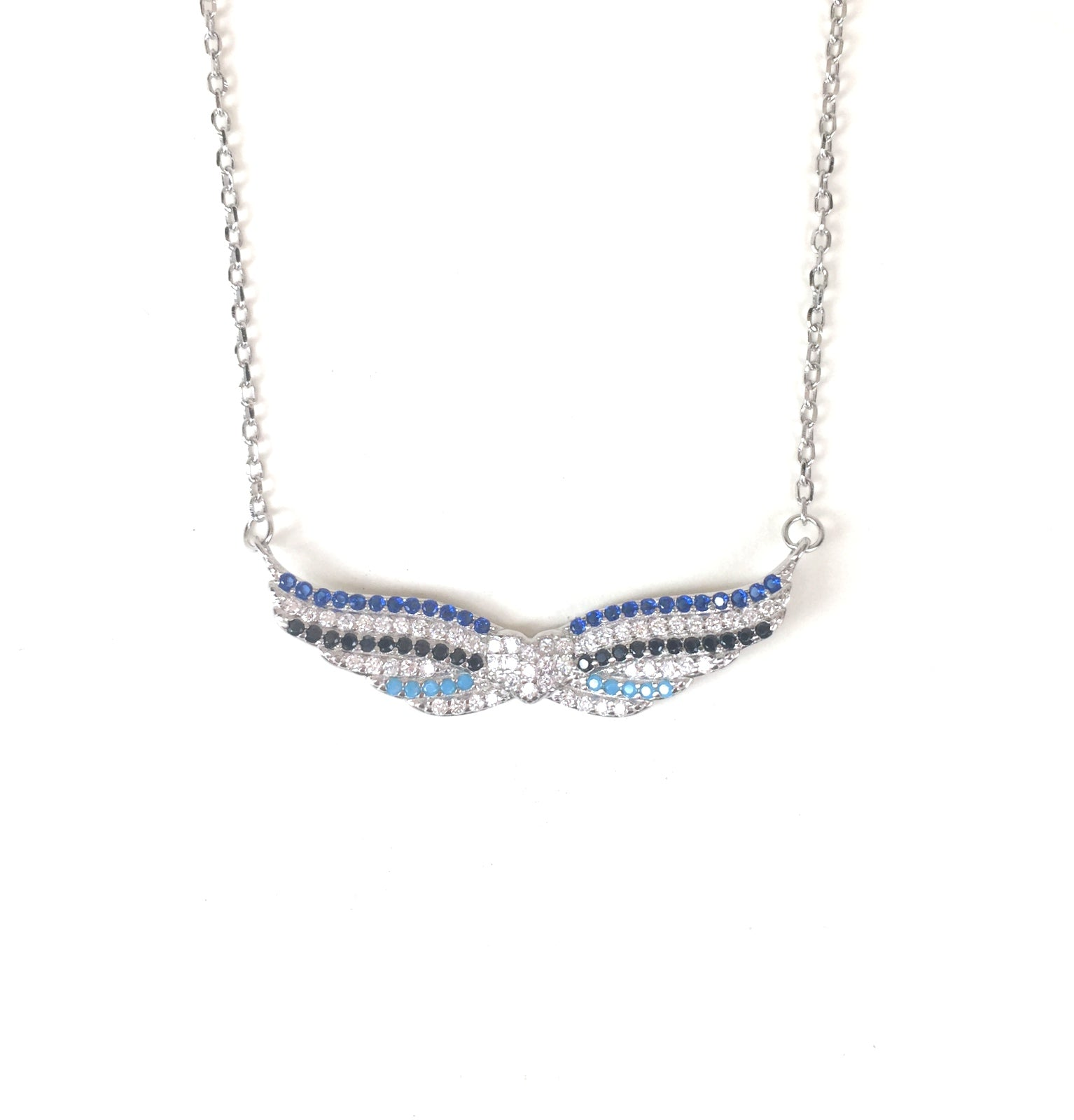 WINGS WITH HEART PAVE CZ STERLING SILVER NECKLACE