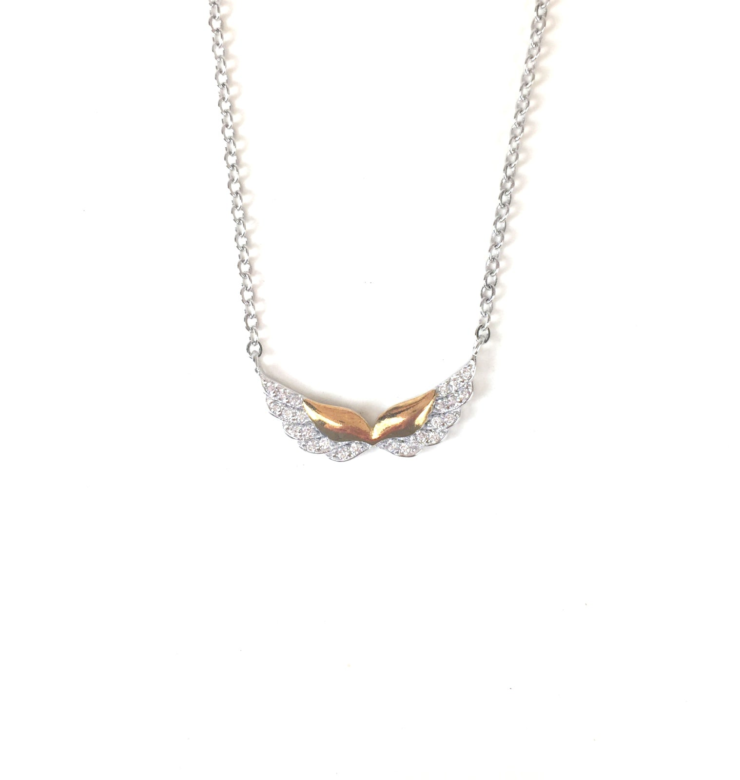TWO TONE WINGS PAVE CZ STERLING SILVER NECKLACE