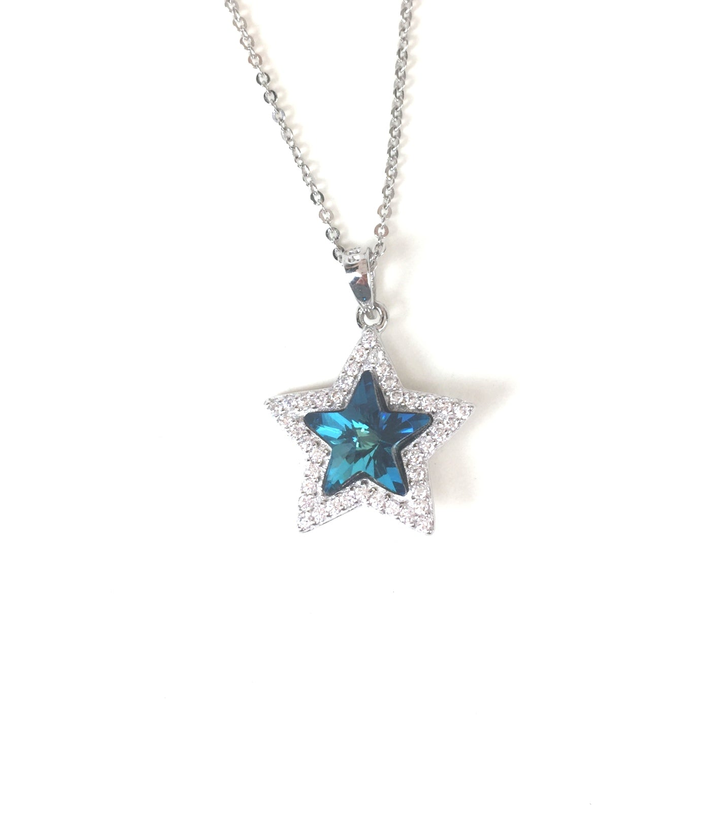 DARK MALACHITE GREEN CRYSTAL STAR PAVE CZ STERLING SILVER NECKLACE
