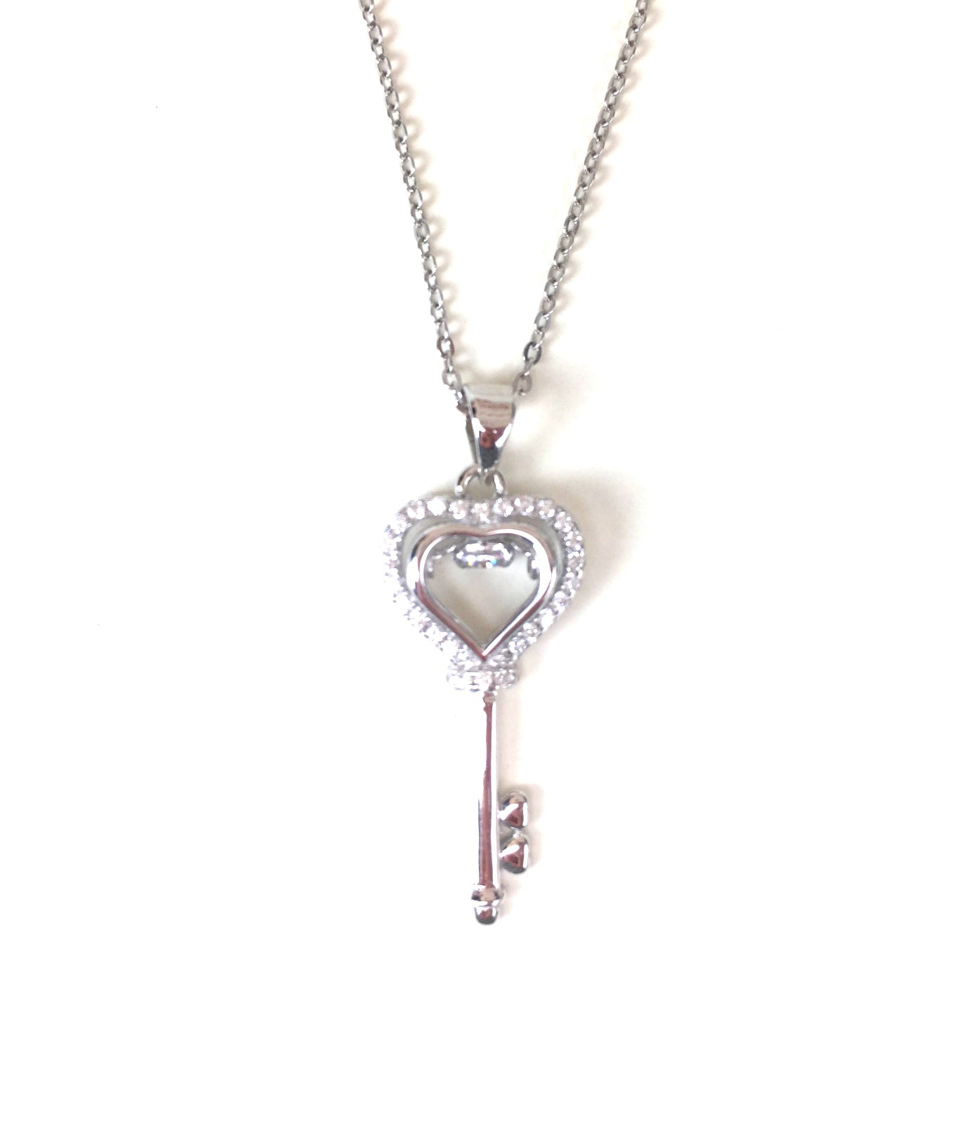 HEART KEY WITH STONE PAVE CZ STERLING SILVER NECKLACE