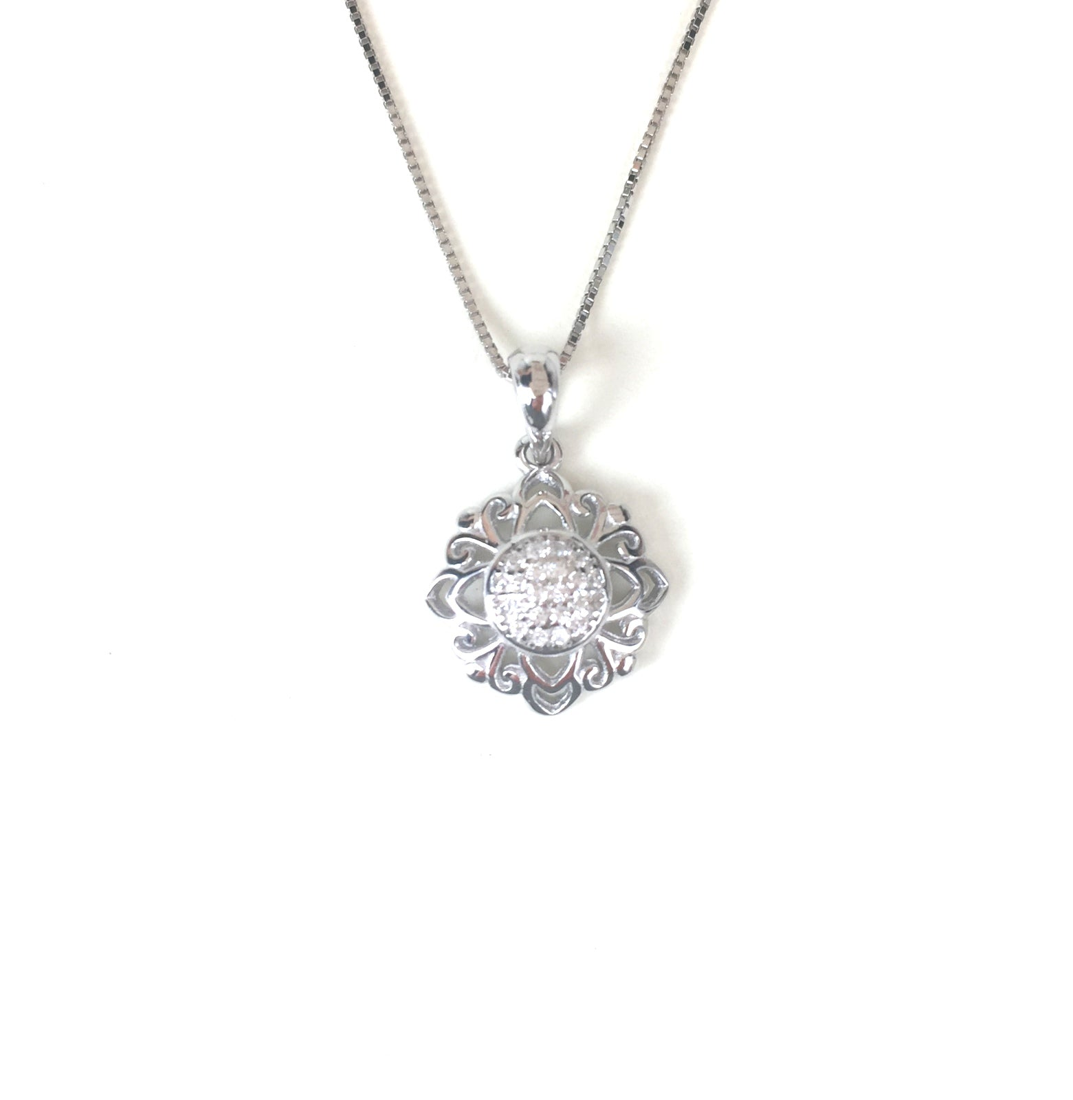 SPARKLING FLOWER 2 PAVE CZ STERLING SILVER NECKLACE