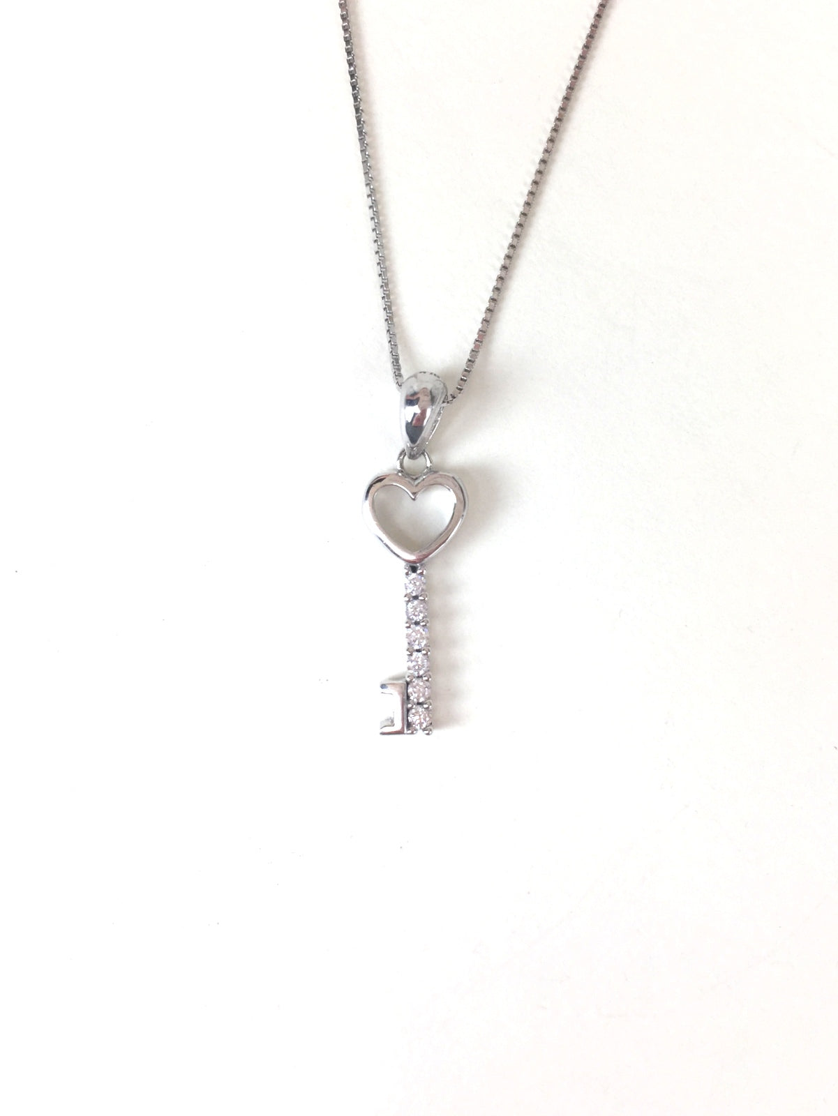 SMALL HEART KEY PAVE CZ STERLING SILVER NECKLACE
