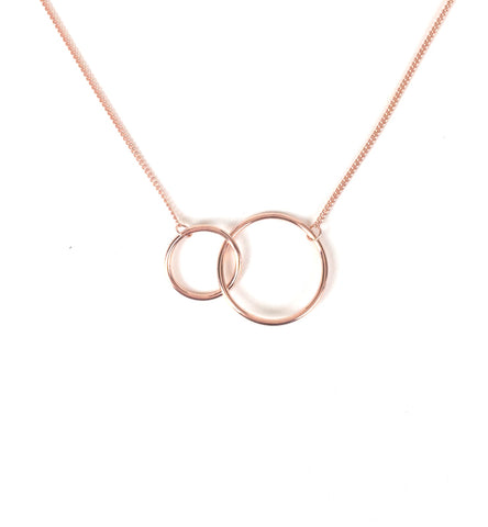 ROSE GOLD TWO CIRCLES STERLING SILVER NECKLACE