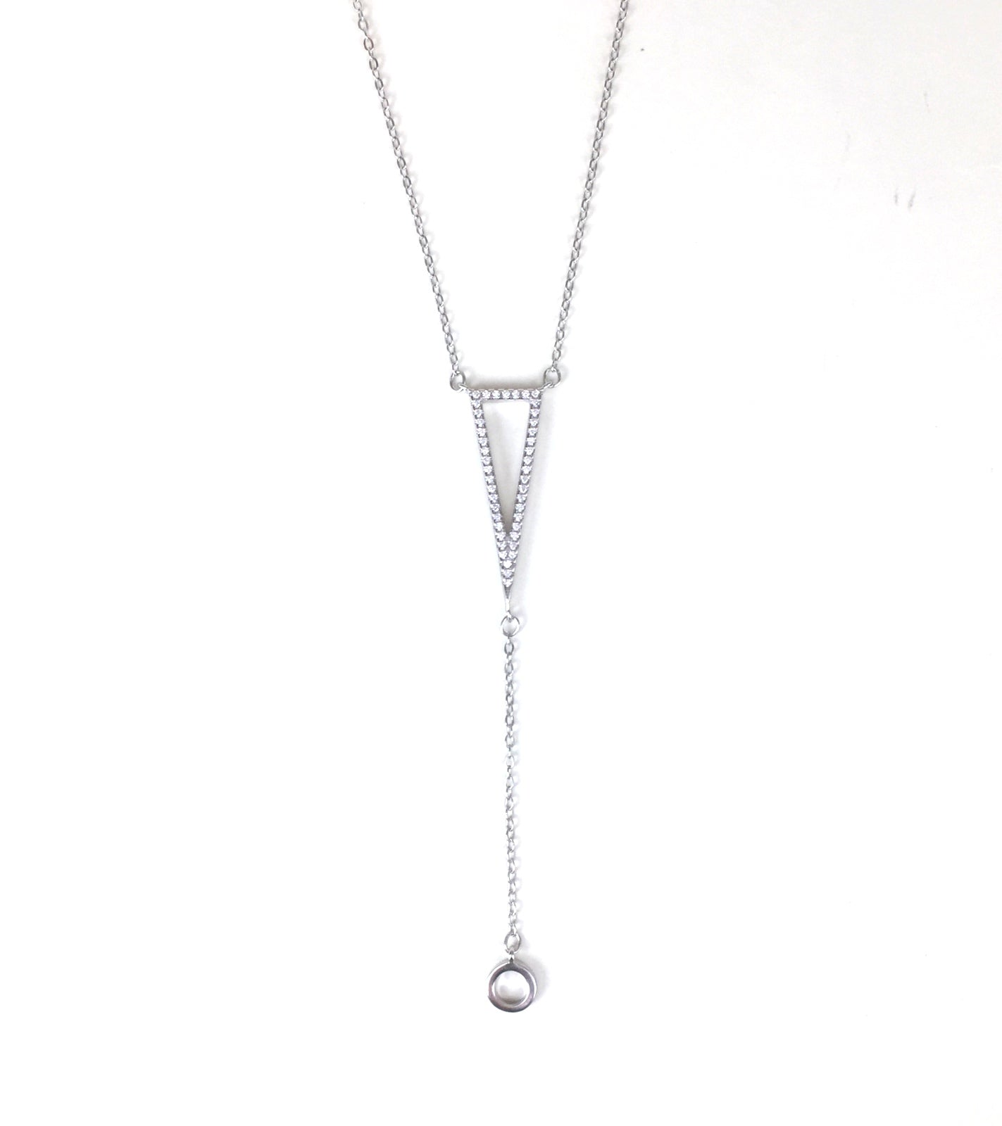 SHARP TRIANGLE PAVE CZ STERLING SILVER NECKLACE