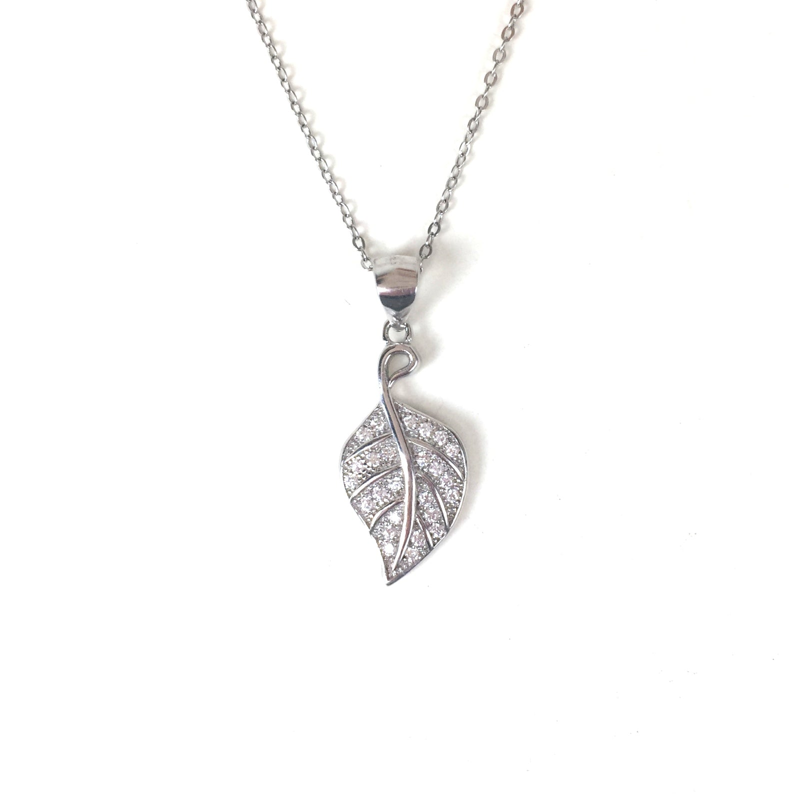 LEAF PAVE CZ STERLING SILVER NECKLACE