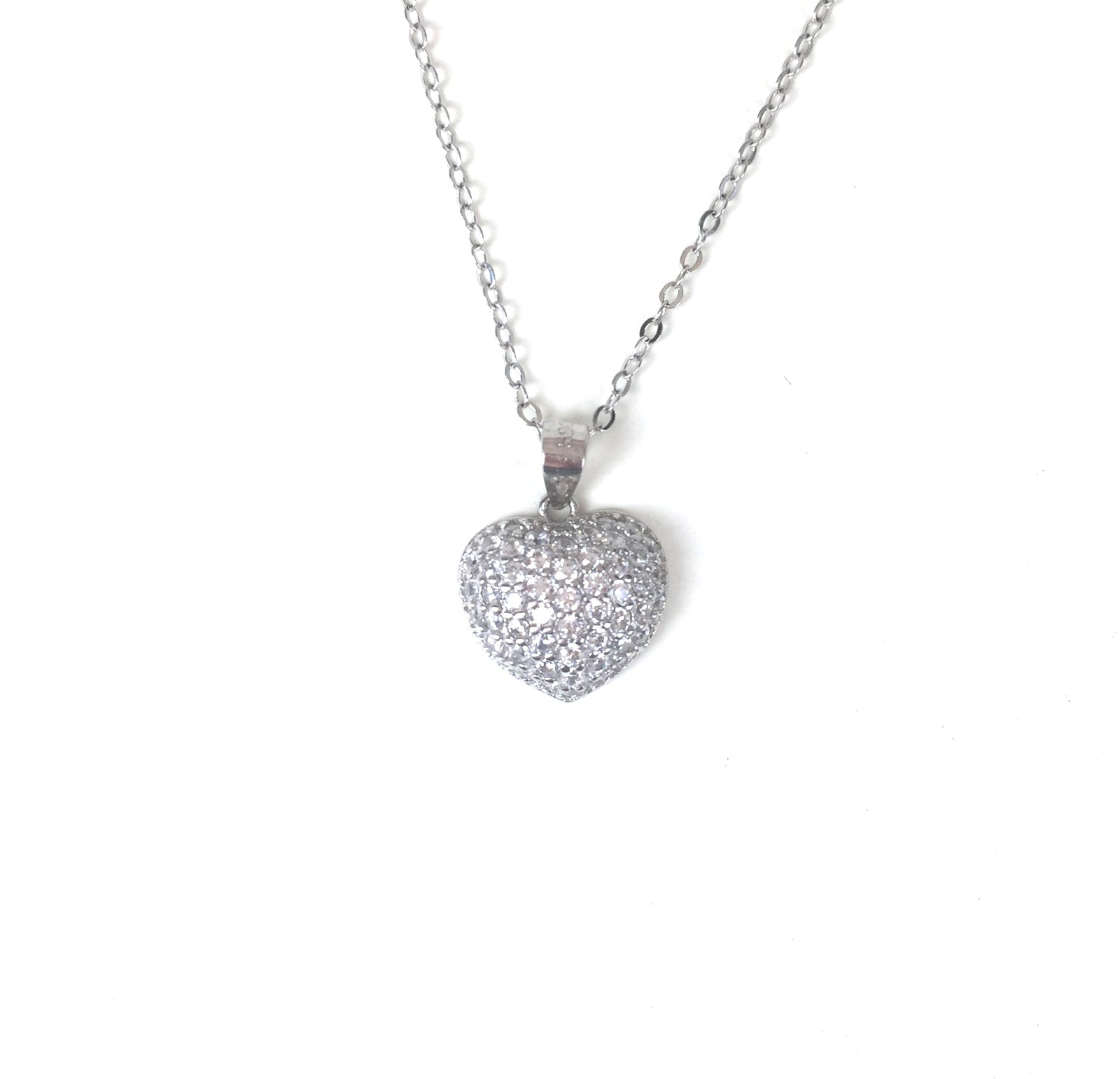 CLASSIC HEART PAVE CZ STERLING SILVER NECKLACE