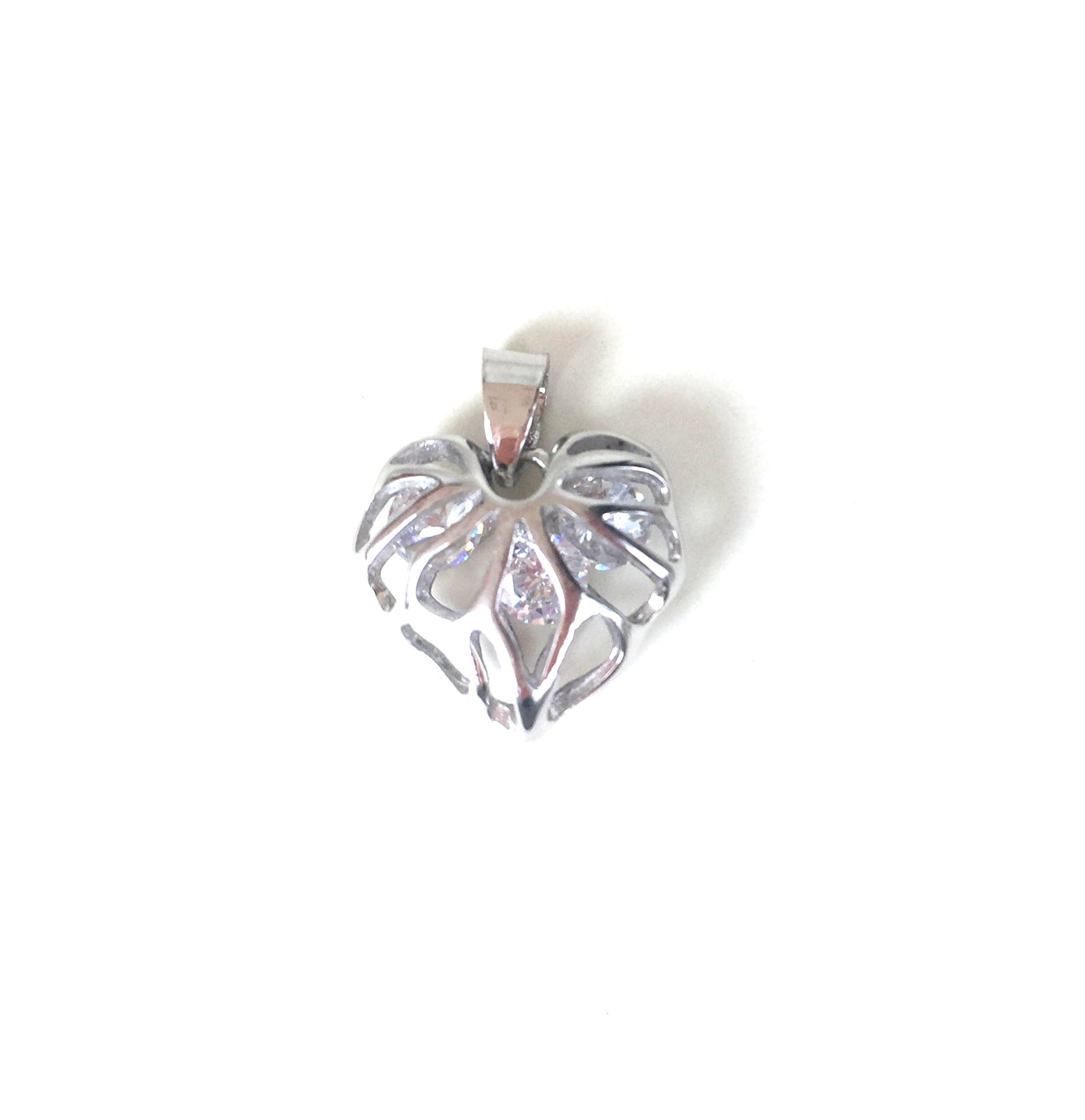 HEART WITH STONE INSIDE STERLING SILVER PENDANT