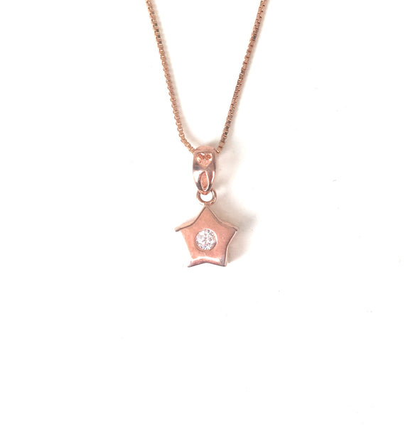 SMALL STAR WITH PETITE STONE STERLING SILVER NECKLACE