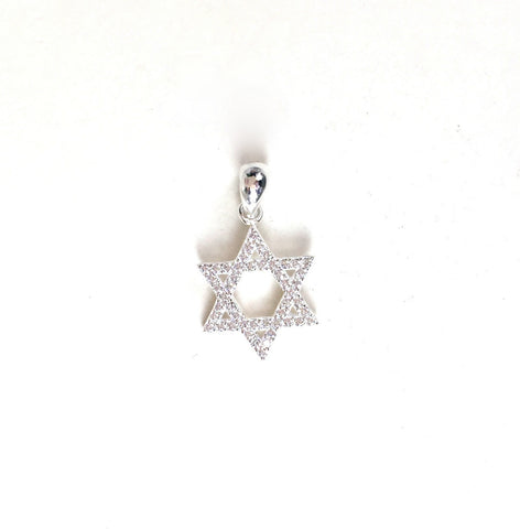 STAR OF DAVID PAVE CZ STERLING SILVER PENDANT