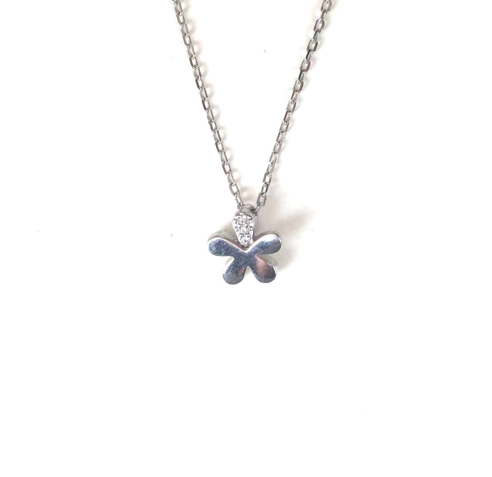 MINI FLOWER PAVE CZ STERLING SILVER NECKLACE