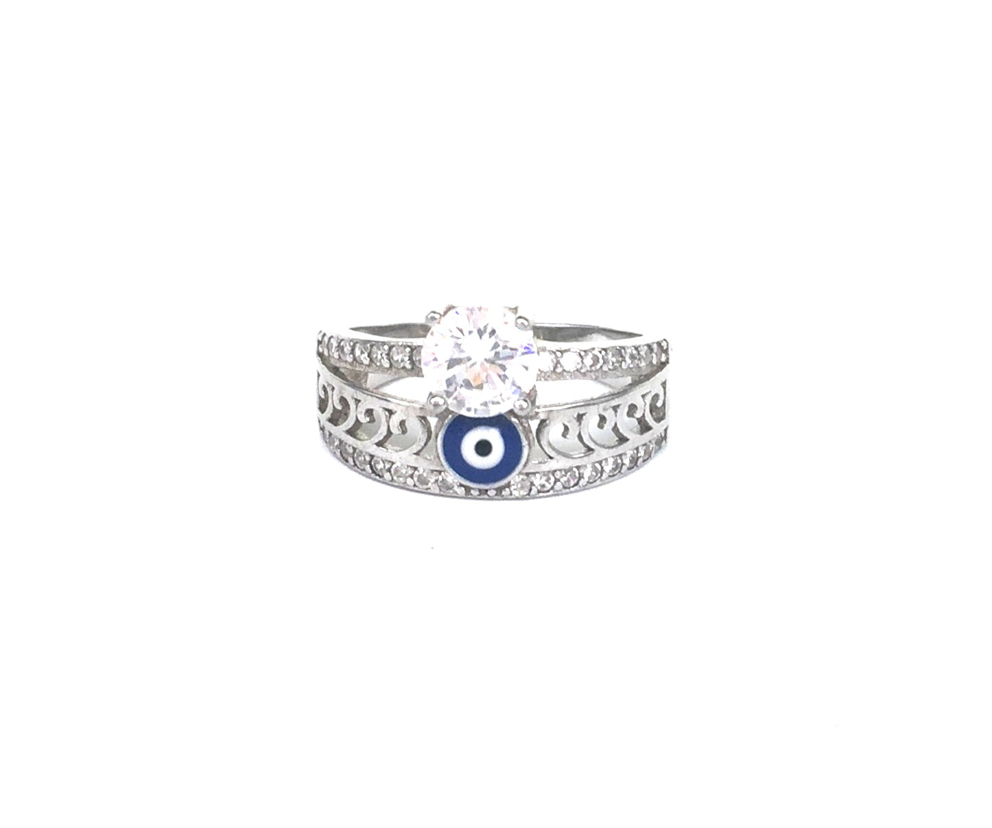 EVIL EYE CZ STERLING SILVER RING