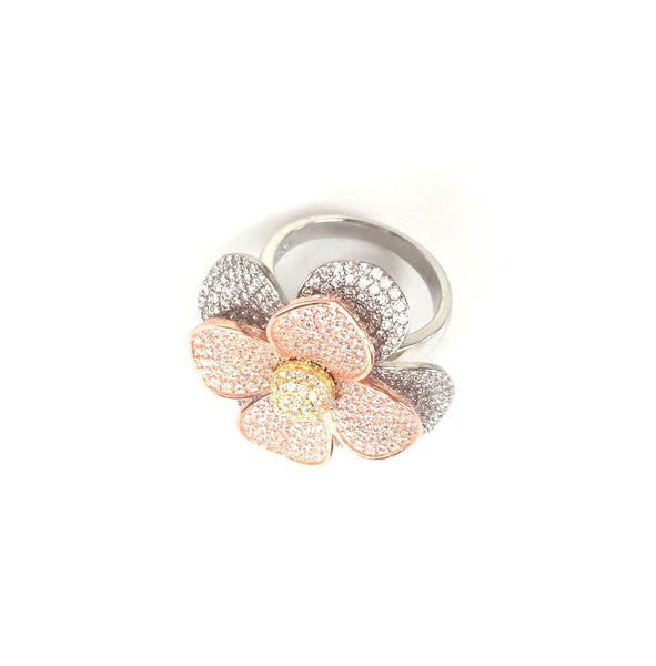 THREE TONE FLOWER STERLING SILVER RING