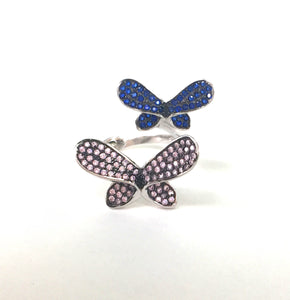 TWO BUTTERFLIES STERLING SILVER RING