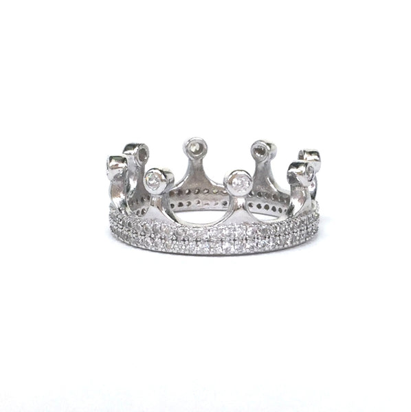 CROWN PAVE CZ STERLING SILVER RING