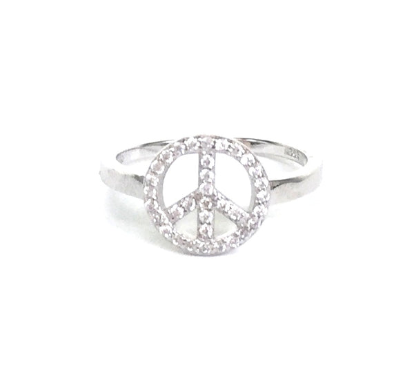 PEACE SYMBOL PAVE CZ STERLING SILVER RING