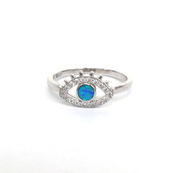 OPAL EYE PAVE CZ STERLING SILVER RING