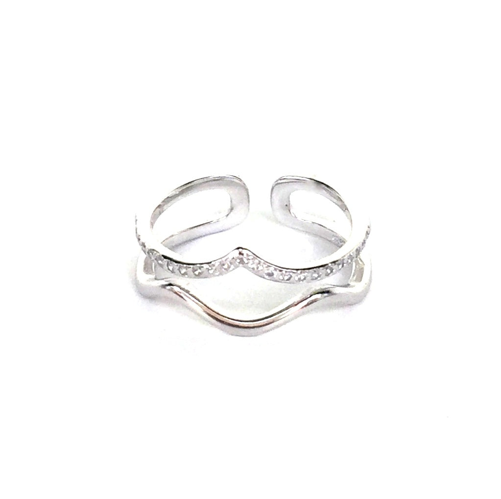 TWO CURVES PAVE CZ STERLING SILVER RING