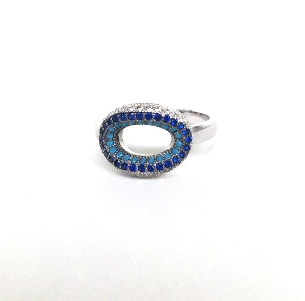 EMPTY OVAL PAVE CZ STERLING SILVER RING