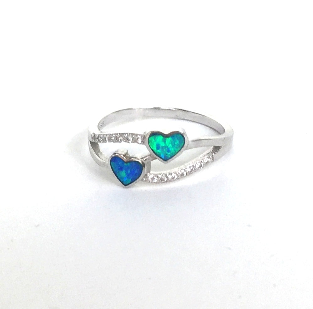OPAL TWO HEARTS PAVE CZ STERLING SILVER RING