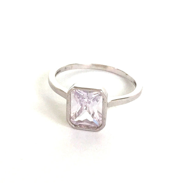 SIMPLE RECTANGLE CLEAR CZ STERLING SILVER RING