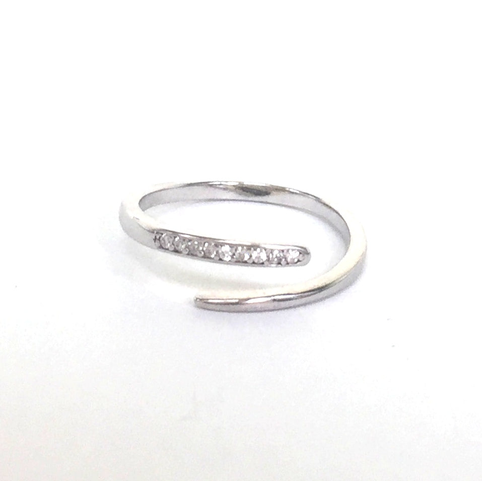 SIMPLE LINE PAVE CZ STERLING SILVER RING