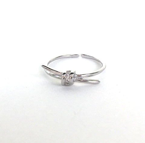 KNOT PAVE CZ STERLING SILVER RING