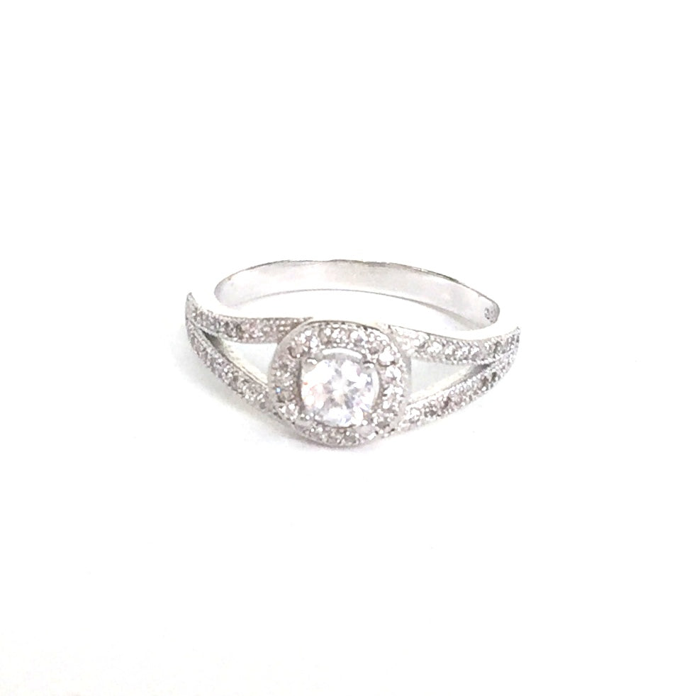 HALO PAVE CZ STERLING SILVER RING