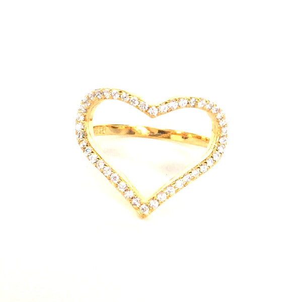 HEART PAVE CZ STERLING SILVER RING