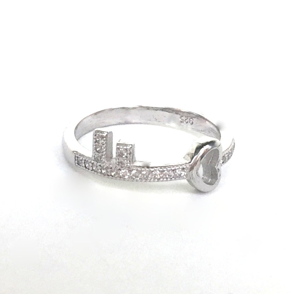 SMALL KEY PAVE CZ STERLING SILVER RING