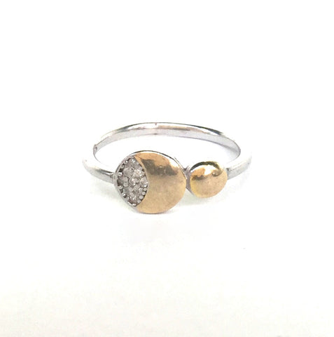 TWO TONE ROUND TO BEAD PAVE CZ STERLING SILVER RING