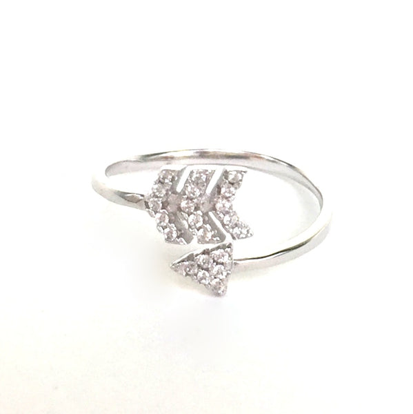 ARROW PAVE CZ STERLING SILVER RING