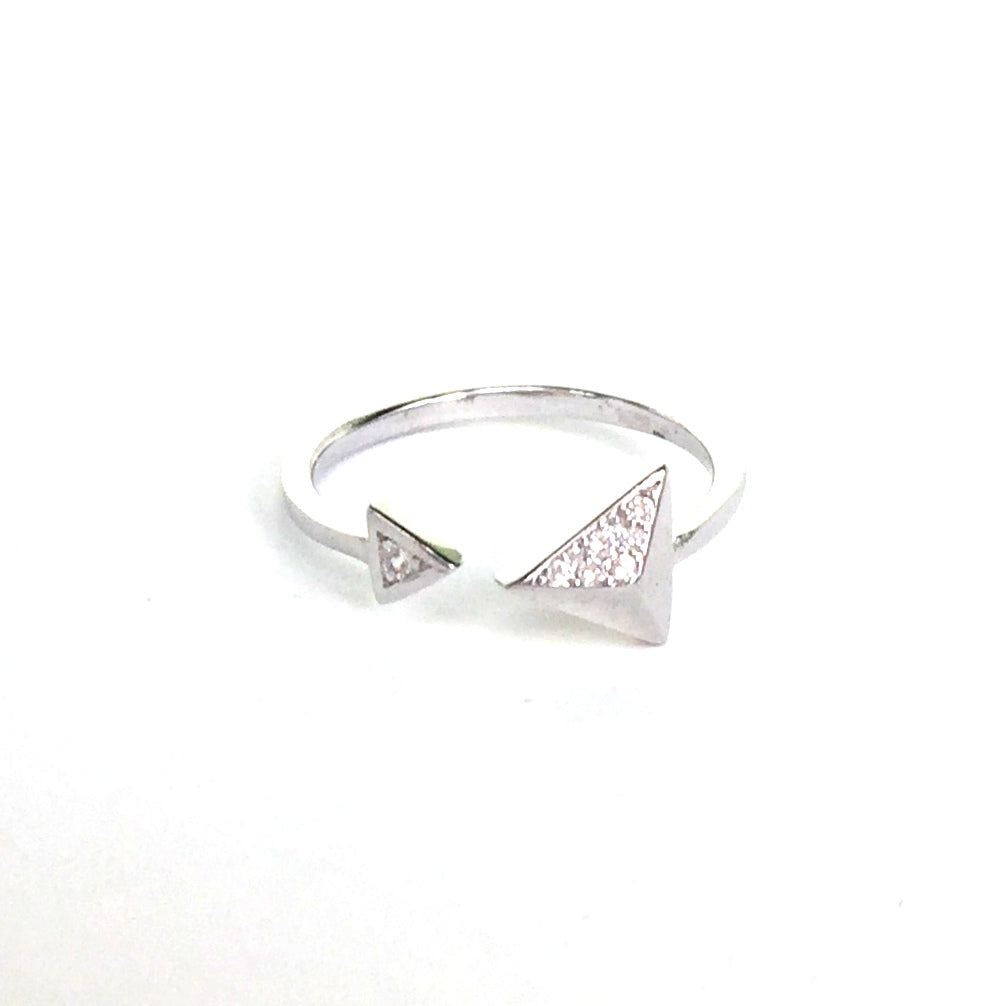 SHARP TRIANGLES PAVE CZ STERLING SILVER RING