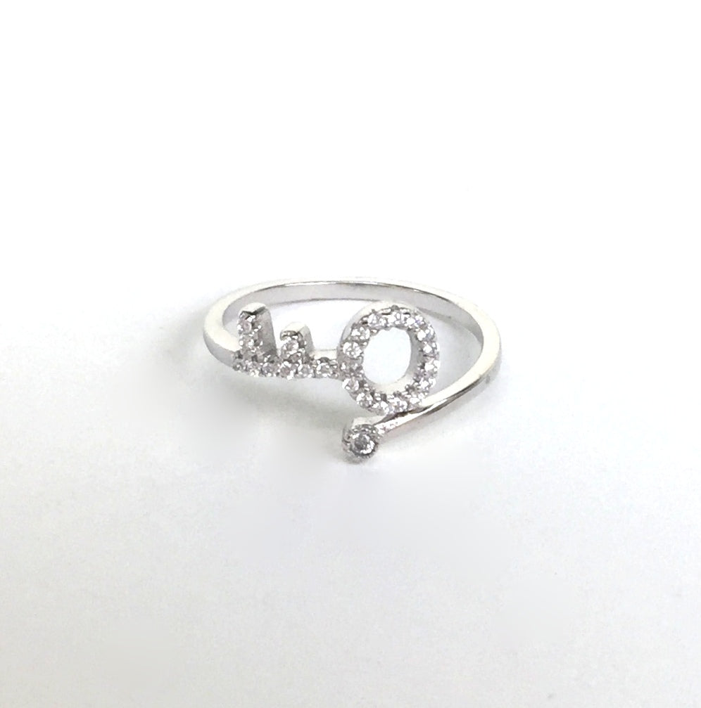 SMALL KEY AND MINI STONE PAVE CZ STERLING SILVER RING