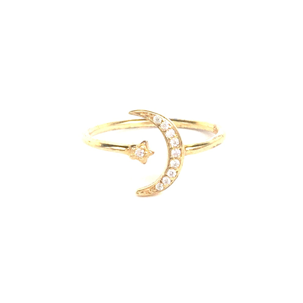 MOON AND LITTLE STAR PAVE CZ STERLING SILVER RING