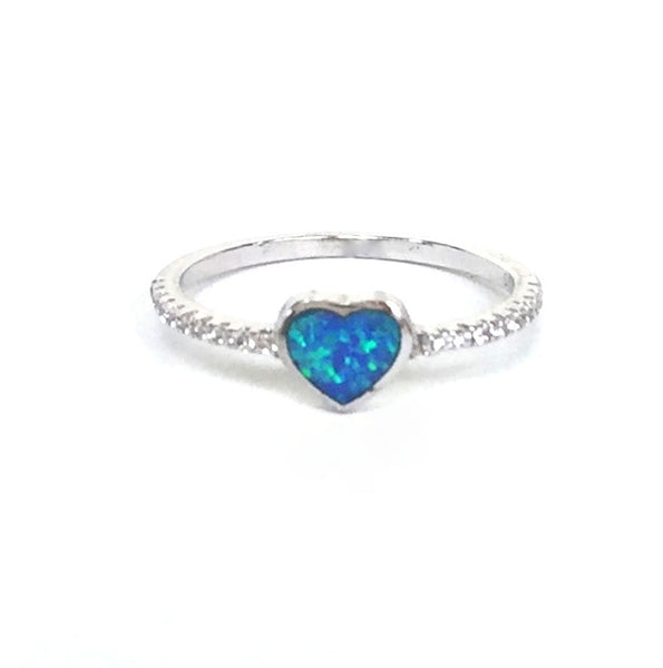 OPAL HEART PAVE CZ STERLING SILVER RING