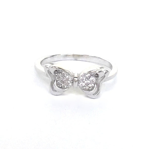 BUTTERFLY BOW PAVE CZ STERLING SILVER RING