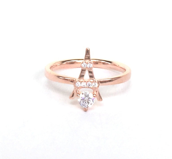 ROSE GOLD EIFFEL TOWER PAVE CZ STERLING SILVER RING