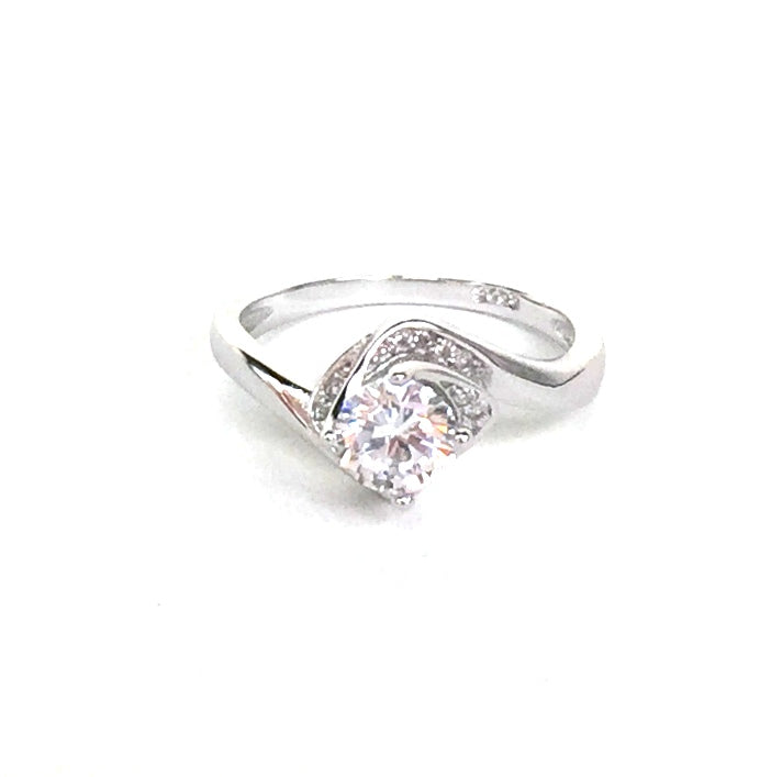 CLEAR STONE AND PAVE CZ STERLING SILVER RING
