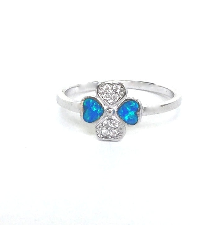 SMALL OPAL HEARTS PAVE CZ STERLING SILVER RING
