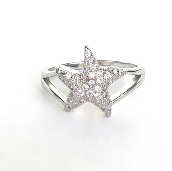 STARFISH PAVE CZ STERLING SILVER RING