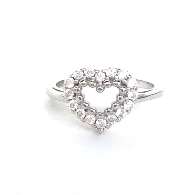 SIMPLE HEART PAVE CZ STERLING SILVER RING