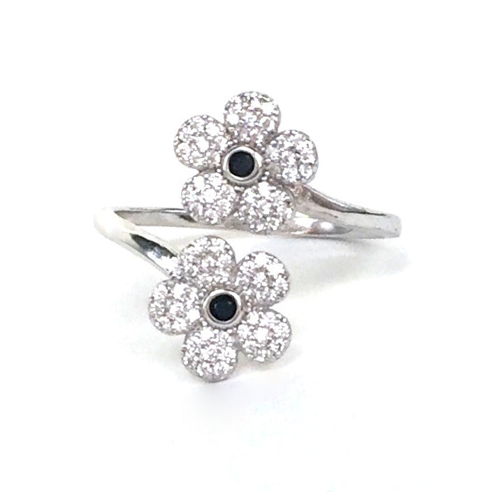 TWO FLOWERS PAVE CZ STERLING SILVER RING
