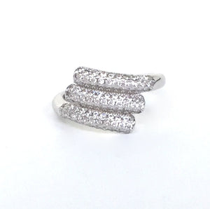 THREE LINES PAVE CZ STERLING SILVER RING