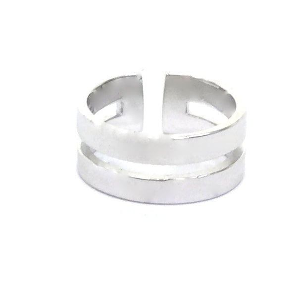 TWO LINES BAND STERLING SILVER RING