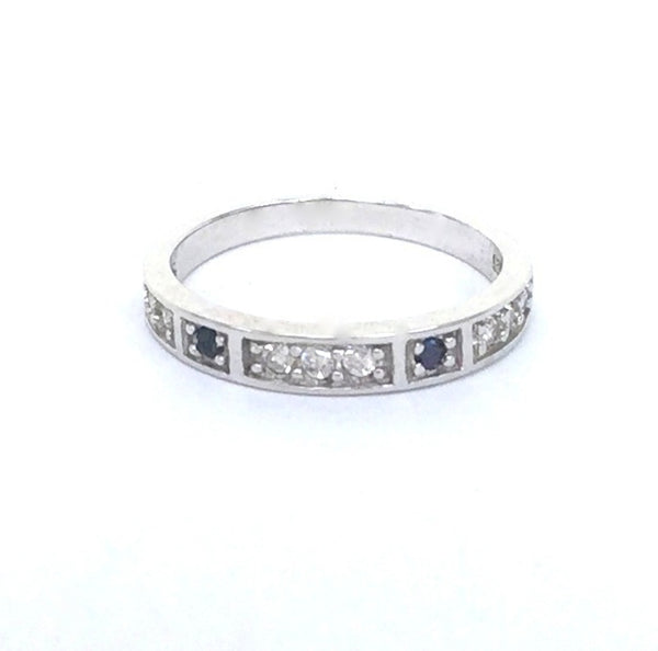 DECORATED BAND PAVE CZ STERLING SILVER RING