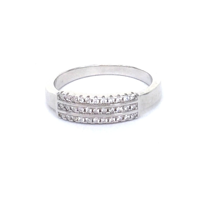 DECORATED BAR PAVE CZ STERLING SILVER RING