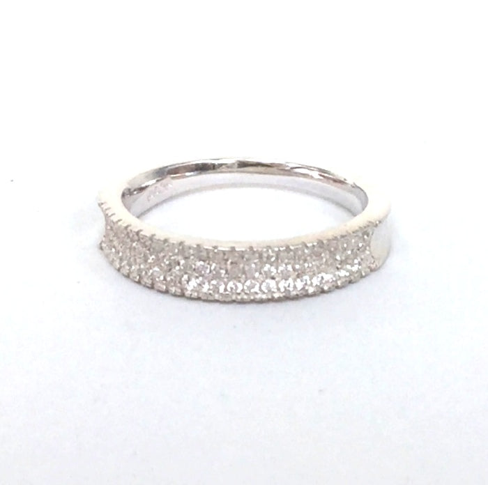 SIMPLE BAND PAVE CZ STERLING SILVER RING
