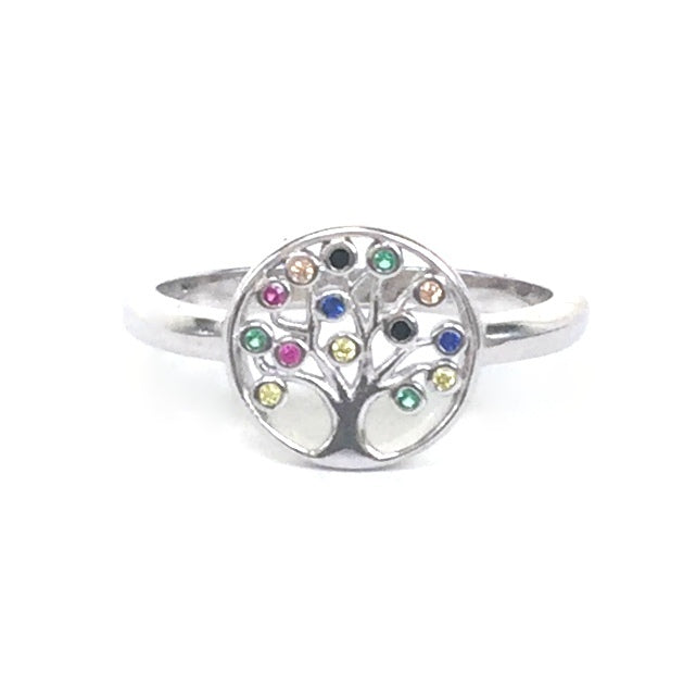 MULTI COLOR PETITE STONE TREE OF LIFE STERLING SILVER RING