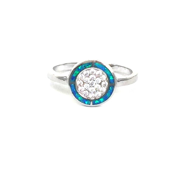OPAL DISK PAVE CZ STERLING SILVER RING