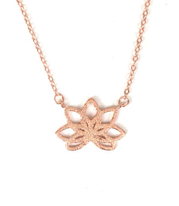 ROSE GOLD LOTUS FLOWER STERLING SILVER NECKLACE